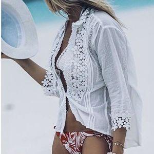 New BOHO Lace crochet Mock neck top blouse